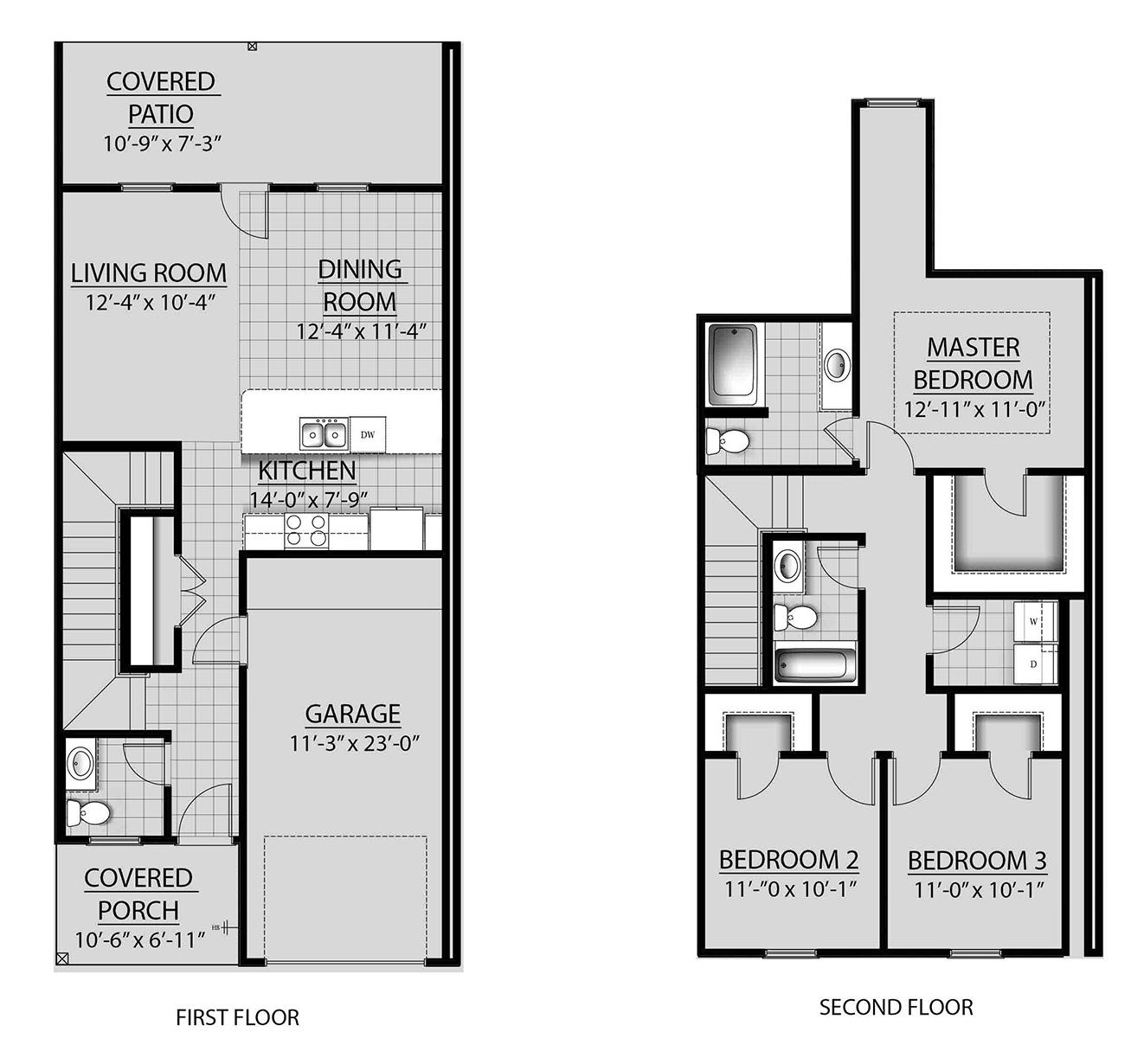 3 Bed / 2.5 Bath Pine Plan